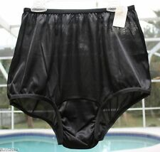 RG VINTAGE RETRO NANCY KING BLACK SATIN SEMI SHEER PIN UP BRIEF PANTIES SZ 8 XL