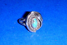 Vintage Turquoise & Silver Leaf Ring - size 4 1/2