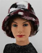 Cozy and Warm CHEMO HAT Maroon Black White Faux Fur Cancer Head Cover  BUCKET