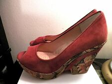 SOFFT WEDGE PLATFORM PEEP TOW SHOES 100%GENUINE SUEDE LEATHER  SIZE-6,5 M MINT!