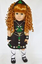 """Doll Clothes AG 18"""" Irish Dance Dress 5-Pc Black  Made For American Girl Dolls"""
