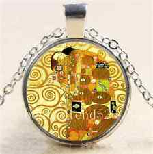 Gustav Klimt tree of life Glass Cabochon Tibet Silver Chain Necklace