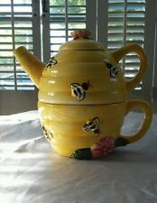 3pc Teapot Tea Set Tea pot & cup mug Nesting Bee Hive Yellow Ceramic