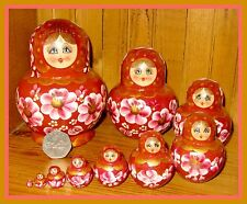 Russian nesting doll 10 BROWN GOLD MATRYOSHKA hand painted SIMAKOVA signed GIFT