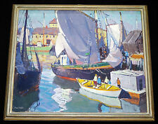 "1950s AMERICAN OIL on CANVAS PAINTING ""HARBOR SCENE"" by CARL WILLIAM PETERS (Jo"