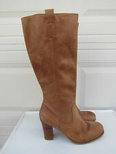 Nicole 5705454 Tan Leather Knee High Pull On 1/2 Zip Boots Size 9.5 M