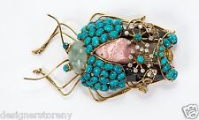 C & D gilt brass w/antique bug pin brooch Turquoise Citrine Aquamarine Agate