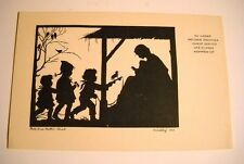 Vint. Christmas P/C- Nativity Silhouette- Children Bring Gifts to Christ Child