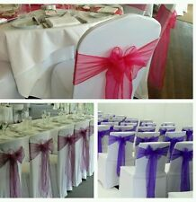 80 White Wedding chair covers and sashes +8 table runners for HIRE/RENTAL ONLY
