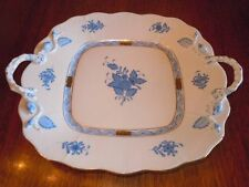 Herend Chinese Bouquet Blue ~ Square Cake Plate with Handles 430 ~ Serving Plate