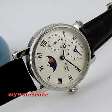42mm parnis white dial GMT Moon Phase hand winding movement mens watch PA060