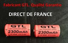 2 Piles Accus Rechargeables CR123A 16340 3.7V 2300Mah GTL Li-ion Batteries - HOT