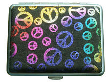 "Women Fashion Cigarette Case with metal clips inside for 16 cigarettes. ""Peace"""