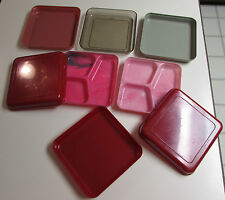 1940's VINTAGE DOW CHEMICAL STYRON MARBLEIZED PLASTIC DIVIDED TRAYS/PLATES +LIDS