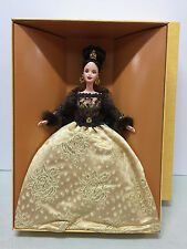 Barbie 'Oscar de la Renta Barbie' gold full gown black lace NRFB New