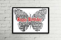 PERSONALISED new A4 Butterfly WORDART Print FRIEND BIRTHDAY GIFT *FREE P+P*