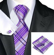 Mens Purple White And Black Stripes Silk Tie+Hanky & Cuflinks Matching Set 169