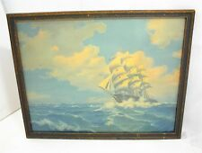 CLIPPER SHIP WOOD ORNATE FRAME GLASS 19 x 15¼ BORIN CHICAGO SAILING BOAT OCEAN