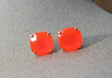 GUMDROP KATE SPADE ROUND SQUARE CUSHION CUT STUD EARRINGS GLOW CORAL NEON PINK