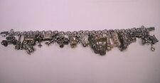 """Vintage Sterling Silver Transportation Charm Bracelet  8"""" + bonus"""