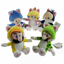 5X Super Mario 3D World Cat Form Mario Luigi Peach Rosalina Toad Plush Toy Doll