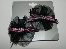 NWT HOT TOPIC 2 packs Sets Pink Zebra Tulle 4 HAIR BOWS* New