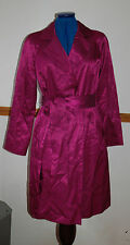 New Sz 10 Bodem Maroon-pink Satin Trench Coat With belt Party Gift