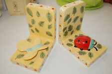 Ceramic House of Hatten book ends. ladybug. Butterfly. new yellow red. set of 2