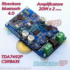 RICEVITORE AUDIO BLUETOOTH 4.0 AMPLIFICATORE CLASSE D 20Wx2 TDA7492P CSR8635 24V