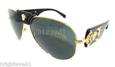 Authentic VERSACE Black Medusa Aviator Sunglasses VE 2150Q - 100287 *NEW*