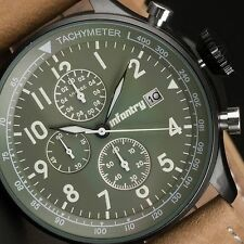 INFANTRY MENS QUARTZ WRIST WATCH CHRONOGRAPH DATE COMMANDO ARMY SPORT LEATHER