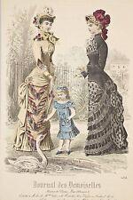 Gravure Mode XIX°Journal Demoiselles Femmes Fillette nourrissant un Cygne Jardin