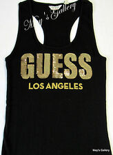 GUESS Jeans sequin Glitter Tank T-shirt Tee T shirt  Top Blouse  Black  NWT  M