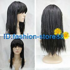 Ladies Women New black Braid Long Straight Natural Hair Wigs + Wig GIFT
