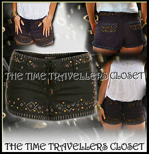 KATE MOSS TOPSHOP GREY BLACK STUD BEAD EMBELLISHED DENIM SHORTS HOT PANTS UK 12