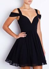 Forever Unique Lily Black Chiffon Deep Plunge Floaty Skater Prom Dress TOWIE 6 8