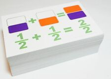 FRACTION ADDITION of Same Denominator - Graphical Math Flash Cards W/ BarCharts