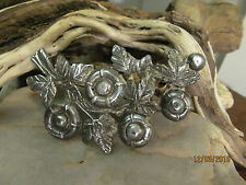 Vintage Very old Huge Rare Silver Gray tone Branch with Flowers Pin Brooch