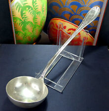 Large Antique Silver Handled Serving Soup Stew Ladle Spoon Ribbon & Reed Vintage