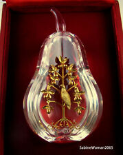 NEW in RED BOX STEUBEN Glass 18k GOLD PARTRIDGE PEAR TREE ornament XMAS heart