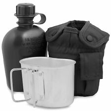 NEW Army Water Bottle, Mug & Pouch Set Canteen Camping Hiking Military Black