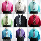 Boy's toddler teen youth formal party color long sleeve dress shirt with tie
