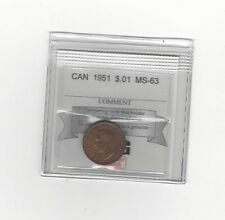 **1951**, Coin Mart Graded Canadian, Small One Cent, **MS-63**