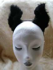 Black Bat Ears On A Headband Faux Fur Black Bat Fancy Dress Halloween Costume