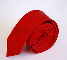 "New 2"" Retro  Skinny HOT RED Mans Mens Slim Plain Satin Neck Tie Necktie UK"