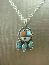 """MINIATURE INLAY TURQUOISE ZUNI SUNFACE PENDANT CHARM ON 18"""" STERLING NECKLACE"""