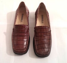 VINTAGE Carvela Brown in pelle di coccodrillo da Donna Mocassini Scarpe EUR Taglia 40 UK 7 EX