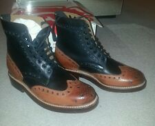 STUNNING Rare Colour. New Mens Grenson  Fred Boots - Black / Tan Size 7