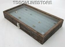 Rustic Antique Coffee Color 72 Ring Glass Top Display Case Gray Insert