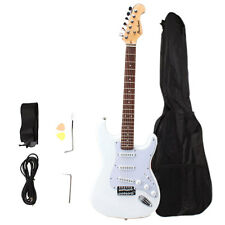 New High Quality White Electric Guitar Bass Set with Gig Bag Strap Cord